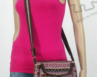 15% off [ orig. 16.99 ] Crossbody bag Sling purse Cross body Cell phone bag cotton Shoulder Bag Messenger Handmade bag