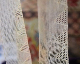 Vintage french silk tulle lace, 1870s