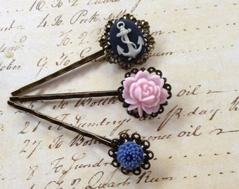 Set of 3, Anchors Away And Floral Hair Clips