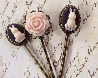 Ivory On Chocolate Brown And Pink Rose Hair Clips