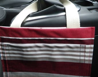 Pochette021 - Empty pocket in red and beige striped car