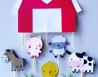 Handmade Cake Topper Set - Barnyard Farm Theme