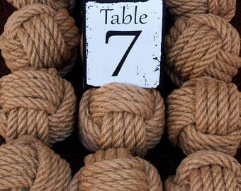 Coastal Wedding Knots Hemp Rope 24 Table Number Holders for your Nautical Wedding Monkey Fist Rope Knots (brn1)