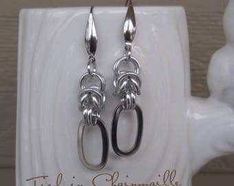 Stainless Steel Links and Anodized Aluminium Byzantine Weave Chain Mail Earrings