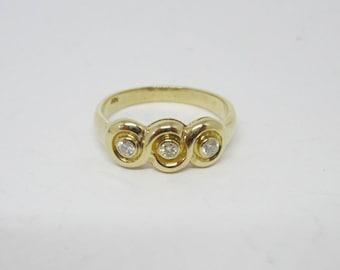 Diamond Ring, 14k Yellow Gold Trinity Diamond Ring, 3 Diamond Ring