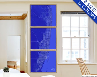 Map of Miami, Miami FL map, 12 colors, 8 sizes up to 9ft tall, XL Miami Florida art map in 1 piece or 6 parts - Limited Edition of 100
