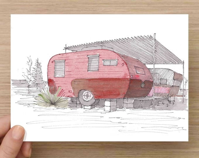 Featured listing image: Pink Vintage RV at El Cosmico in Marfa, Texas - Campground, West Texas, Ink Drawing, Sketch, Watercolor, Art, Pen and Ink, 5x7, 8x10