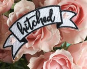 Hitched Banner Patch - Iron-On - Embroidered Applique - Patches - Wedding - Bride - Bridal - Wildflower + Co.