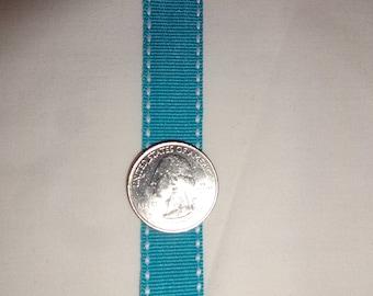 "Saddle Stitched Grosgrain Ribbon 5/8"" Turquoise Blue White stitching THREE yards"