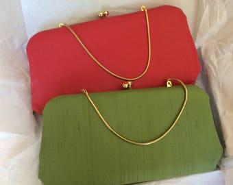 Vintage Joseph Magnin Red or Green Handbag or Clutch