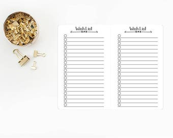 Wish List Traveler's Notebook Insert refill - Micro or Passport size - bujo - bullet journals - lined refill - journal checklist