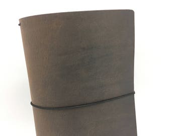 Dark Chocolate Leather Travelers Cover - Yanasa Collection - Brown - Notebook - Two-Tone Pull-Up - Full Grain - Journal - Water Buffalo
