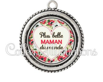 2 pendant cabochons 25mm the most beautiful mother of the world - series