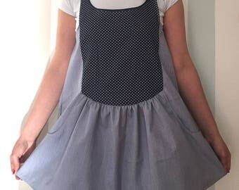 Cotton overalls with gonnella and polka dots bib