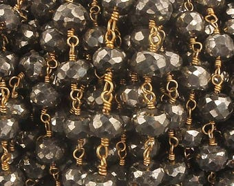 Valentine Day 3 FEETS  Natural Pyrite Beaded Chain - Natural Pyrite Beads wire wrapped in 24k Gold Plated BD113