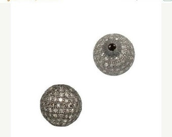 March Sale 1 PC Pave Diamond Round Ball Beads 925 Sterling Silver- Antique Finish Round Bead 8mm PDC015