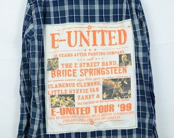 Upcycled Plaid Bruce Springsteen Shirt on Back