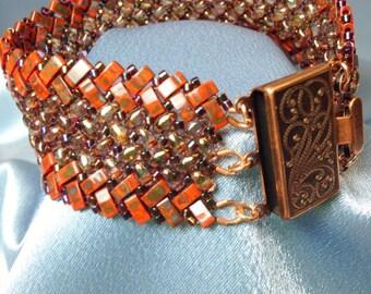 Zina-Herringbone Woven Beaded Bracelet