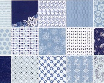 FLORAL LACE BLUE, Simply Creative Paper Pad, 6 x 6 ins, 30 Sheets, 2 of Each, Brand New