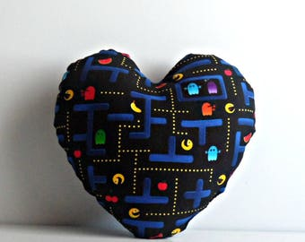 Heart shaped pillow with Pacman print