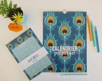 perpetual calendar with peacock pattern + notepad, Birthday calendar, blue