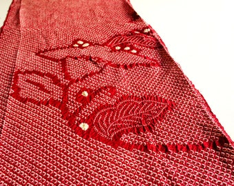 JPI - Vintage Japanese Kimono Silk Fabric **Red Shibori**
