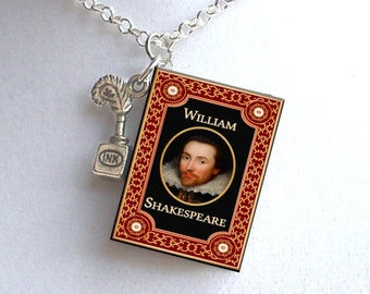 Shakespeare with Tiny Inkwell  Charm - Miniature Book Necklace
