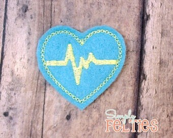 EKG Heart Felties--Lagoon Blue and Light Yellow--Set of 4