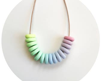 Rainbow Popsicle - Polymer Clay Necklace