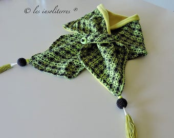 scarf snood two-sided fleece print and lime green cotton lime green and black