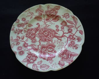 Vintage, Red Transferware, Johnson Bros. ENGLISH CHIPPENDALE,Dinner Plate,Chintz,