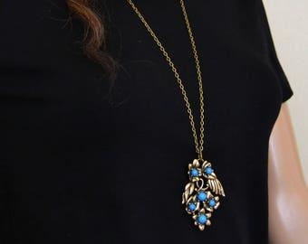 Vintage Necklace Long Necklace Turquoise Necklace Flower Necklace Boho Minimalist Layering