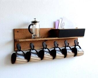 Rustic Wood kitchen Mug Rack, Wall-Mounted 6 Hook Kitchen Storage Organizer & Cup Holder