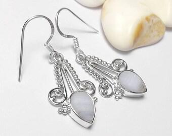 925 Sterling Silver Blue Lace Agate Gemstone Earrings