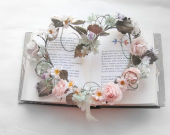 Wreath with silk flowers for a doll in a vintage style