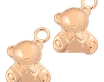 """DQ metal pendant, charm """"Teddy"""" - 2 PCs. - color selectable (colour - Rosé gold)"""