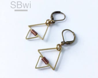 Geometric earrings in brass with copper, wire wrapped detail