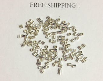 200pcs - 2mm X 2mm, Sterling Silver Seamless Crimp Beads - FREE SHIPPING