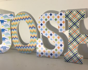 Nursery letters for boys in dinosaur theme, wall letters, wood letters