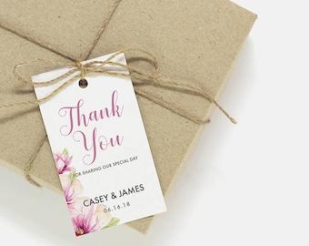 Thank You Tags   Printable thank you tags, favor tags, wedding card template, printable wedding party tag, favor tag, thank you card CA-04