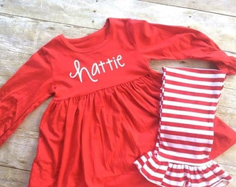 Christmas Outfit -- Toddler Ruffle Outfit -- Tunic Top -- Ruffle Pants -- Custom with your child's name -- Valentines Day outfit -- July 4