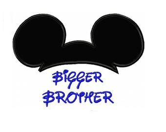 Mickey Ears Bigger Brother Applique Machine Embroidery Digital Download