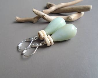 Amazonite, coconut, and Sterling Silver earrings / / nature jewelry