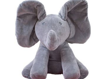 "Cute Animated Singing Peek a Boo Grey Plush Elephant Approx 12"" High"