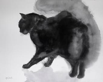 Black cat - original watercolor painting