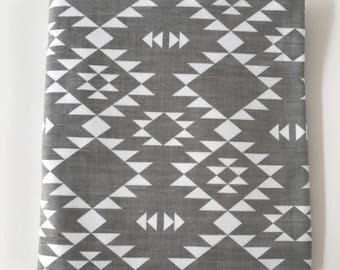 Gray and White Navajo Super Soft Stretch Jersey Swaddle Receiving Infant Blanket