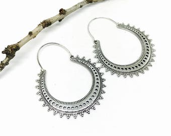 Tribal, ethnic, bohemian Sterling silver earring 925. Weight- 13gms for a pair.