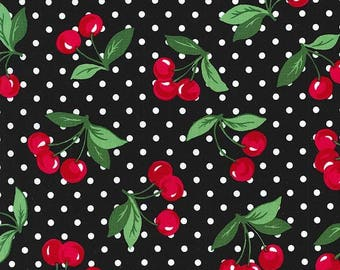 Cherry Dot in black Michael Miller fabric by the yard,Black and white polka dot cherry novelty fabric, Black dot with cherries cotton fabric