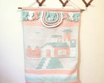 Large Vintage Southwestern Wall Hanging in Pastel Colors