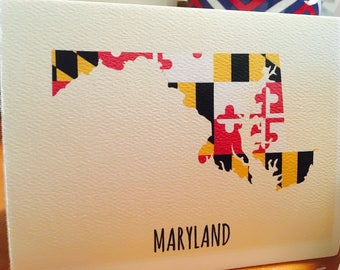 Maryland Flag Map Note Card Boxed Set - 5 cards